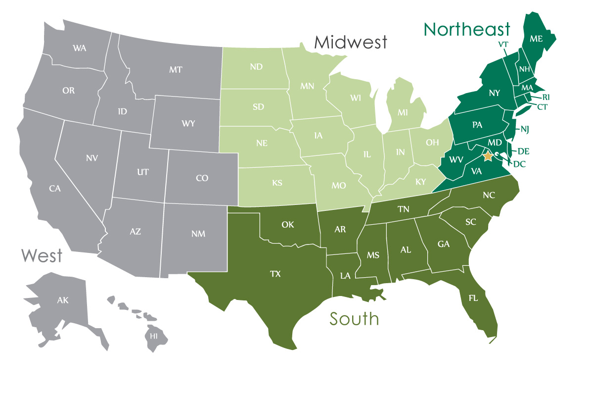 Deister USA Sales Territory Map